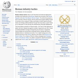 Roman infantry tactics, strategy and battle formations