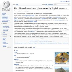 List of French words and phrases used by English speakers