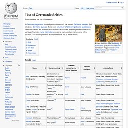 List of Germanic deities