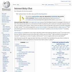 Internet Relay Chat - Wikipedia, the free encyclopedia - Profile