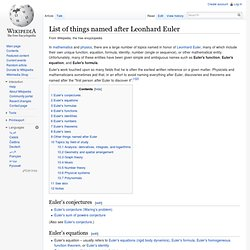 List of things named after Leonhard Euler
