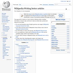 Writing better articles