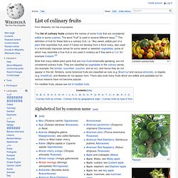 List of culinary fruits
