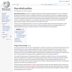 Wikipedia: Dog-whistle politics