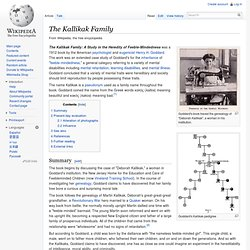 The Kallikak Family: A Study in the Heredity of Feeble ...