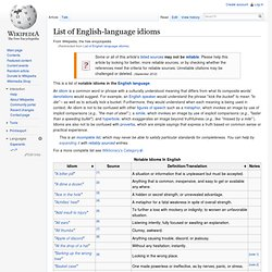 List of idioms in the English language - Wikipedia, the free encyclopedia - StumbleUpon