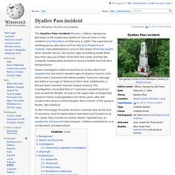 Dyatlov Pass incident - Wikipedia, the free encyclopedia