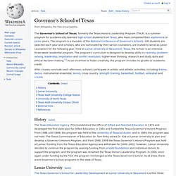 Governor's School of Texas