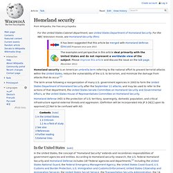 Homeland security - wikipedia