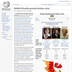 British Columbia general election, 2013