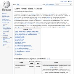 List of sultans of the Maldives