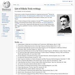 List of Nikola Tesla writings