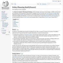 Centre d'analyse et de prévision - Wikipedia, l'encyclopédie libre