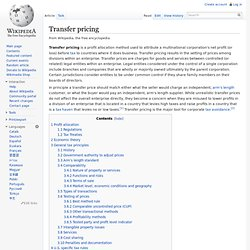 Wikipedia: Transfer pricing