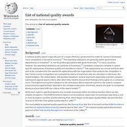 List of national quality awards
