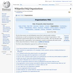 Wikipedia:FAQ/Organizations