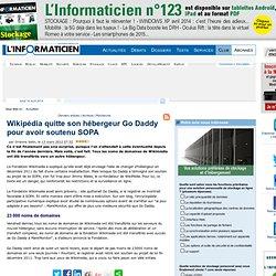Wikipédia quitte son hébergeur Go Daddy pour avoir soutenu SOPA