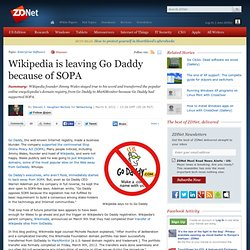 Wikipedia is leaving Go Daddy because of SOPA