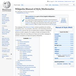 Manual of Style/Mathematics