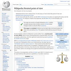 Wikipedia:Neutral point of view - Wikipedia, the free encyclopedia