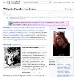 Wikipédia:Pastiches/Une femme