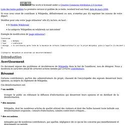 Wikipedia: constats et propositions (v8.58, Mars 2006 - Mai 2011)