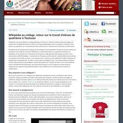 Wikipédia au collège, retour sur le travail d'élèves de quatrième à Toulouse