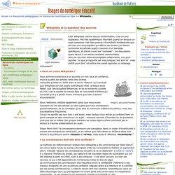 Wikipédia et la question des sources- Usages du numérique éducatif