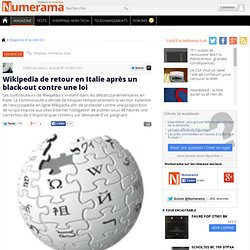Wikipedia de retour en Italie après un black-out contre une loi