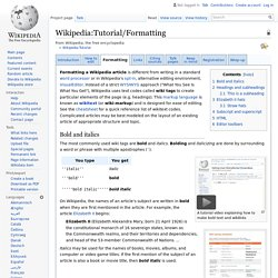 Wikipedia:Tutorial/Formatting