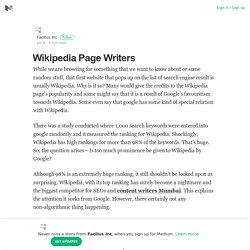 Wikipedia Page Writers