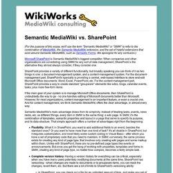 Semantic MediaWiki vs. SharePoint
