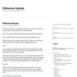Wildcard Ranges
