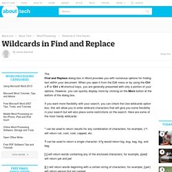 Wildcards in Find and Replace in Microsoft Word