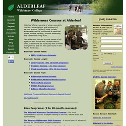Wilderness Courses at Alderleaf Wilderness College