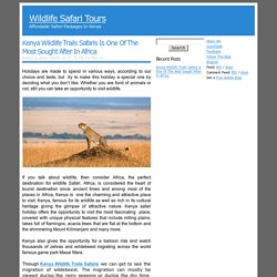 Kenya Wildlife Trails Safaris Is One Of The Most Sought After In...