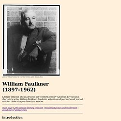 William Faulkner Literary Criticism