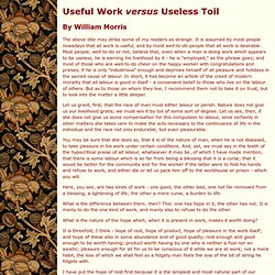 William Morris - Useful Work versus Useless Toil