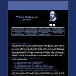 WILLIAM SHAKESPEARE SONNETS with text of each sonnet