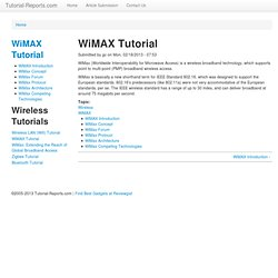WiMAX Tutorial | Tutorial-Reports.Com