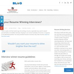 Win an interview with your resume!!