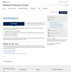 Encyclopedia entry: Win32/Bafruz - Learn more about malware - Microsoft Malware Protection Center