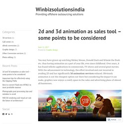 2d and 3d animation as sales tool – some points to be considered – Winbizsolutionsindia