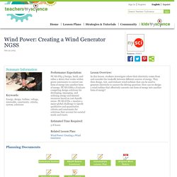Wind Power: Creating a Wind Generator NGSS