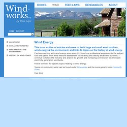 Archive of Articles on Wind Energy, Energy, Electricity Feed Laws & Other Topics by Paul Gipe