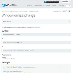 Window.onhashchange - Web API interfaces