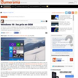 Windows 10 : les prix en OEM