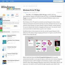 Windows 8 Live TV App