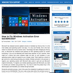 Fix Windows Activation Error 0xC004C003?