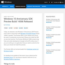 Windows 10 Anniversary SDK Preview Build 14366 Released